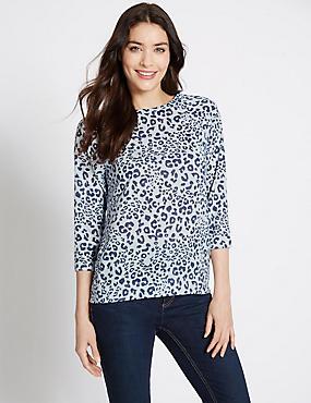 Animal Print 3/4 Sleeve Jersey Top, BLUE MIX, catlanding