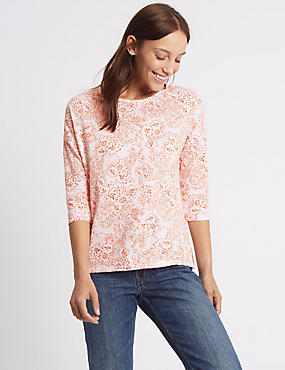 Cotton Rich Floral Print 3/4 Sleeve T-Shirt, WHITE MIX, catlanding