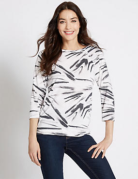 Zebra Print 3/4 Sleeve Jersey Top, WHITE MIX, catlanding