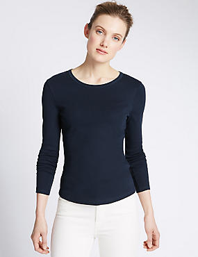 Pure Cotton Round Neck Long Sleeve T-Shirt, NAVY, catlanding