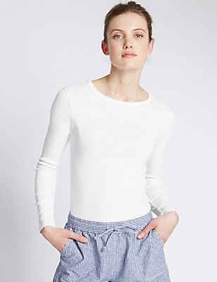 Pure Cotton Long Sleeve Jersey Top, WHITE, catlanding