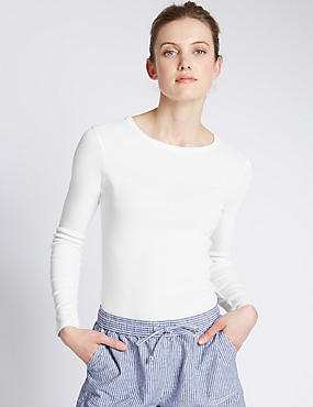 Pure Cotton Round Neck Long Sleeve T-Shirt, WHITE, catlanding