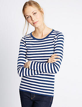 Pure Cotton Striped Long Sleeve T-Shirt, DENIM MIX, catlanding