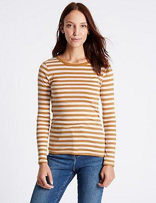 Pure Cotton Striped Long Sleeve T-Shirt, ANTIQUE BRASS, catlanding
