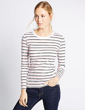 Pure Cotton Striped Long Sleeve T-Shirt, MULTI, catlanding