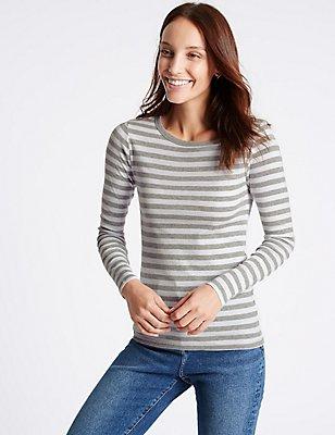 Pure Cotton Striped Long Sleeve T-Shirt, GREY MIX, catlanding