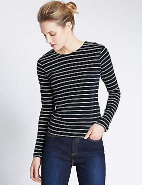 Pure Cotton Striped Crew Neck T-Shirt, NAVY MIX, catlanding