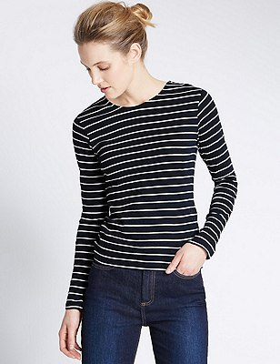 Pure Cotton Striped T-Shirt, NAVY MIX, catlanding
