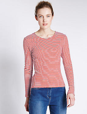 Pure Cotton Long Sleeve Thin Striped T-Shirt