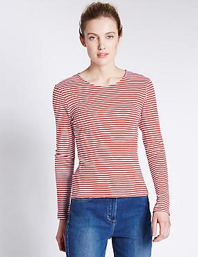 Pure Cotton Crew Neck Thin Stripe T-Shirt, RED MIX, catlanding