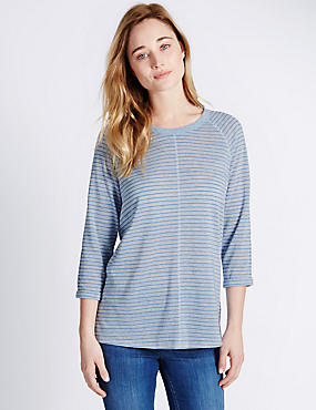 Non-Iron Striped Top with Linen