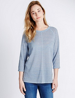 Striped T-Shirt with Linen, BLUE MIX, catlanding