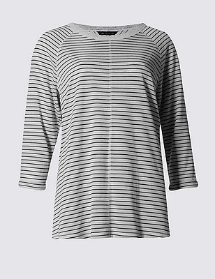 Striped T-Shirt with Linen, IVORY MIX, catlanding