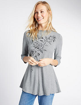 Floral Print 3/4 Sleeve Tunic, GREY, catlanding