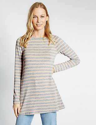 Striped Long Sleeve Tunic, GREY MIX, catlanding