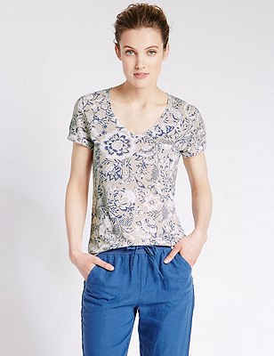 Floral Textured T-Shirt with Linen, OATMEAL MIX, catlanding