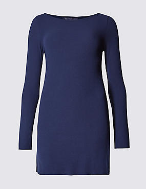 Ribbed Slash Neck Long Sleeve Tunic, DARK INDIGO, catlanding