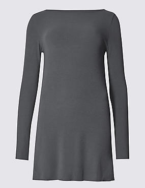 Ribbed Slash Neck Long Sleeve Tunic, CHARCOAL, catlanding