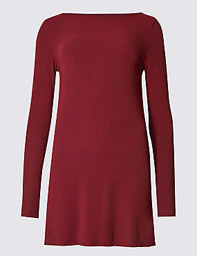 Ribbed Slash Neck Long Sleeve Tunic, DARK CLARET, catlanding