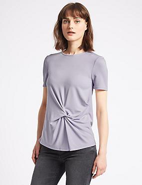Modal Rich Twist Front Short Sleeve T-Shirt, LAVENDER, catlanding