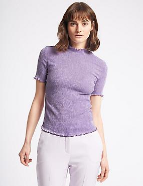 Textured Funnel Neck Short Sleeve T-Shirt, LILAC, catlanding