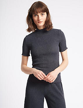 Textured Funnel Neck Short Sleeve T-Shirt, CHARCOAL, catlanding