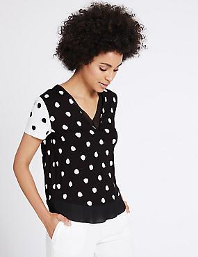 Spotted V-Neck Short Sleeve T-Shirt, BLACK MIX, catlanding