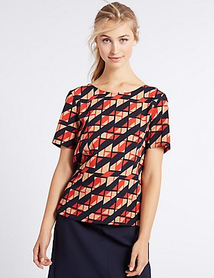 Geometric Print Short Sleeve T-Shirt, RED MIX, catlanding