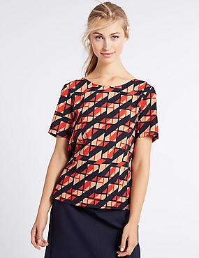 Geometric Print Short Sleeve T-Shirt, RED MIX, catlanding