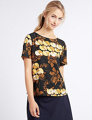 Printed Round Neck Short Sleeve T-Shirt, YELLOW MIX, catlanding