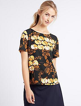 Printed Round Neck Short Sleeve T-Shirt, YELLOW MIX, catlanding
