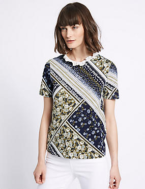 Pure Cotton Printed Short Sleeve T-Shirt, MULTI, catlanding