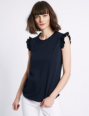 Pure Cotton Ruffle Trim Round Neck T-Shirt, NAVY MIX, catlanding