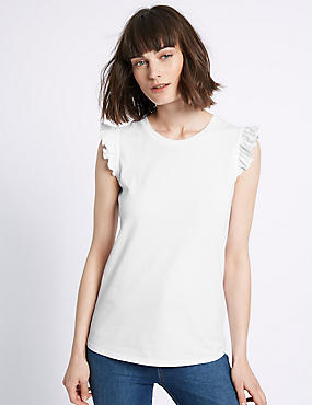 Pure Cotton Ruffle Trim Round Neck T-Shirt, WHITE MIX, catlanding