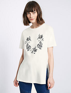 Pure Cotton Embroidered Longline T-Shirt, IVORY MIX, catlanding