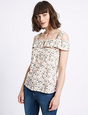 Pure Cotton Floral Print Bardot Top, PINK MIX, catlanding