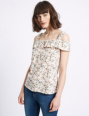 Pure Cotton Floral Print Bardot Top, PINK MIX, catlanding