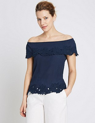 Pure Cotton Embroidered Cutwork Bardot Blouse, NAVY, catlanding