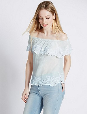 Pure Cotton Embroidered Cutwork Bardot Blouse, IVORY, catlanding