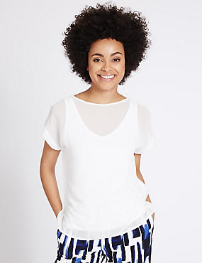 Woven Layer Slash Neck Short Sleeve T-Shirt, IVORY, catlanding