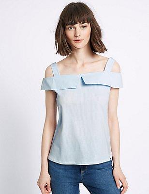 Pure Cotton Striped Short Sleeve Bardot Top, PINK MIX, catlanding
