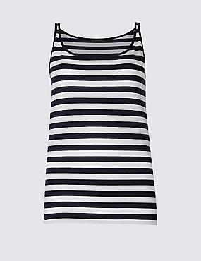 Pure Supima Cotton Striped Vest Top, NAVY MIX, catlanding