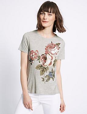 T-Shirt aus Baumwollmischgewebe mit Blumendruck, GRAU, catlanding