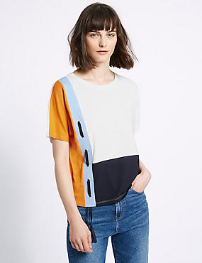 Modal Blend Colour Block Jersey Top, ORANGE MIX, catlanding
