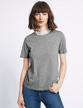 Cotton Blend Contrasting Neckline T-Shirt, GREY MARL, catlanding
