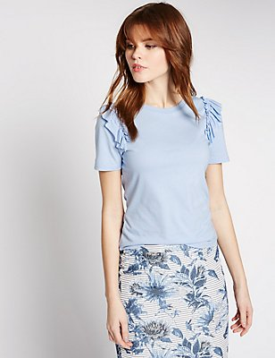 Modal Blend Frill Front T-Shirt, PALE BLUE, catlanding