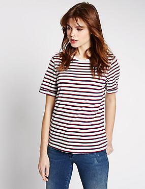 Modal Blend Striped Short Sleeve T-Shirt, IVORY MIX, catlanding