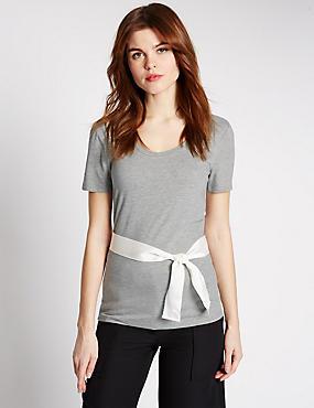 Tie Detail Scoop Neck Short Sleeve T-Shirt, GREY MARL, catlanding