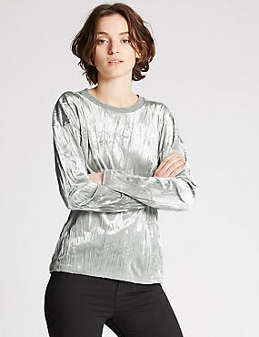 Sweat-shirt à manches longues en velours, effet froissé, GRIS, catlanding