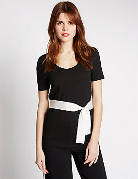 Tie Detail Scoop Neck Short Sleeve T-Shirt, BLACK, catlanding